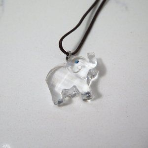 Swarovski Clear White Elephant Pendant Necklace